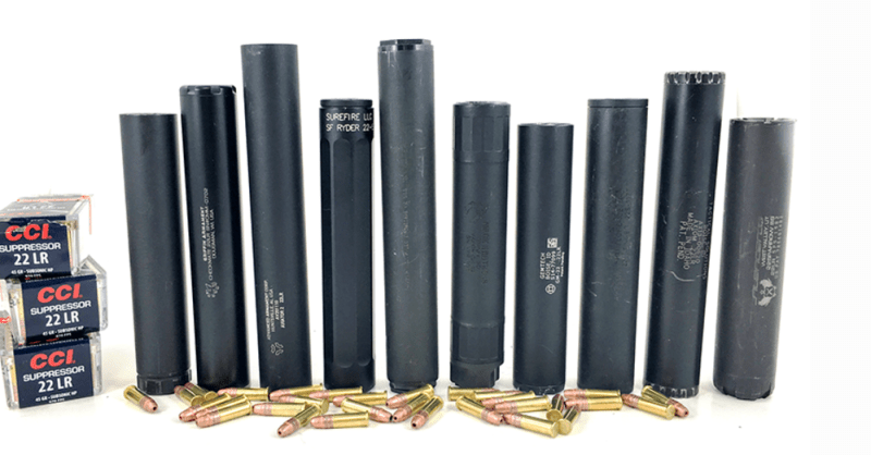 We tested ten different .22LR rimfire suppressors. Left to right: AAC Element 2, Griffin Armament Checkmate, AAC Aviator 2, Surefire Ryder 22-S, Bowers Group USS 22, Mack Brothers Vapor, Gemtech GM-22, YHM Stinger 22, Tactical Solutions Axiom, and SilencerCo Sparrow 22.