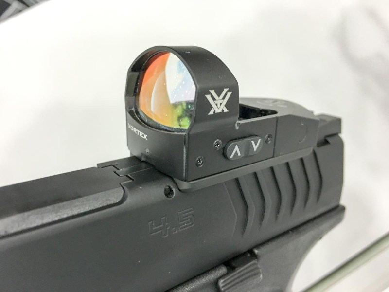 The included Vortex Venom red dot sight has 10 brightness adjustments for daylight or low-light use.