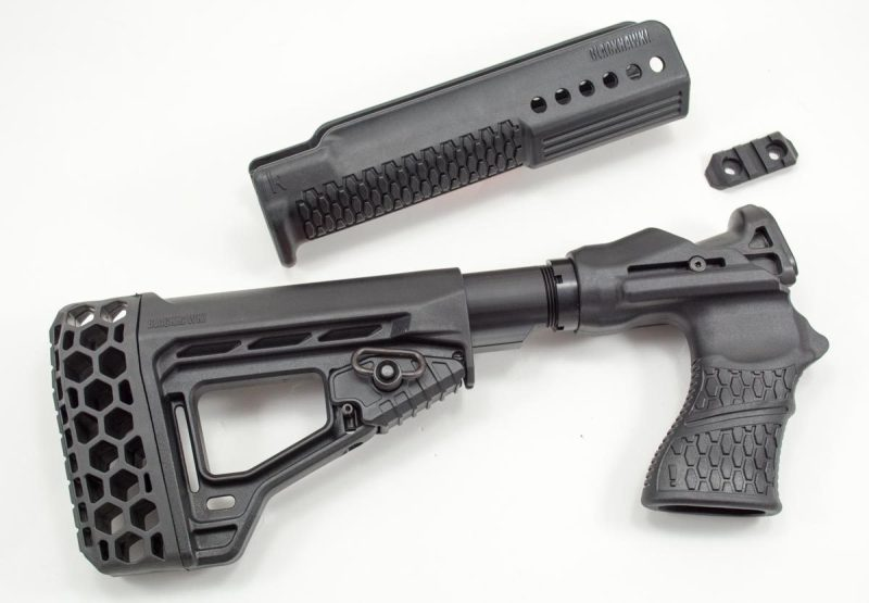 The Blackhawk Specops Gen III Shotgun stock also comes with a replacement forend.