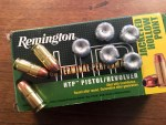 Remington's HTP .45 ACP 185-grain self-defense ammo comes in 50-round boxes.