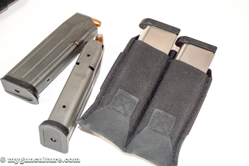 The pistol pouches are universal and work well with single or double-stack magazines.