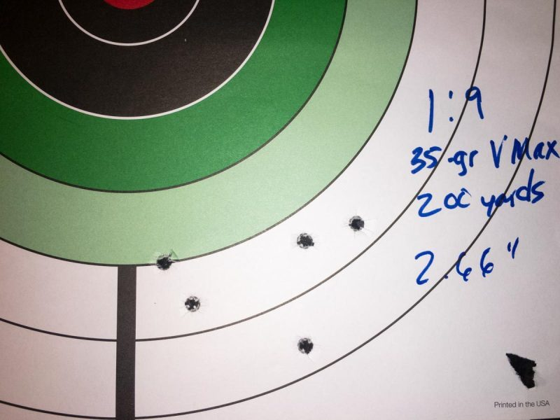 Even on a windy day, I got decent groups from the 35-grain bullets at 200 yards from the 1:9 twist barrel.