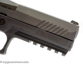 If you're into press checks, the Sig P320 has forward cocking serrations.