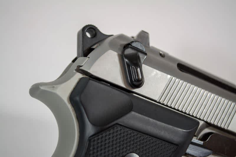 """The de-cocker / safety lever on this Beretta 92 FS Compact is an additional layer of """"safety"""" for carrying a chambered round."""