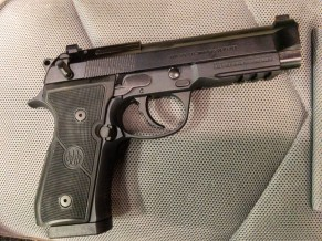 Note the c classic rounded trigger guard and dovetail sights up front. The rear sight is blacked out while the front has a bright orange dot. Loved the sight picture and I found it fast to acquire.