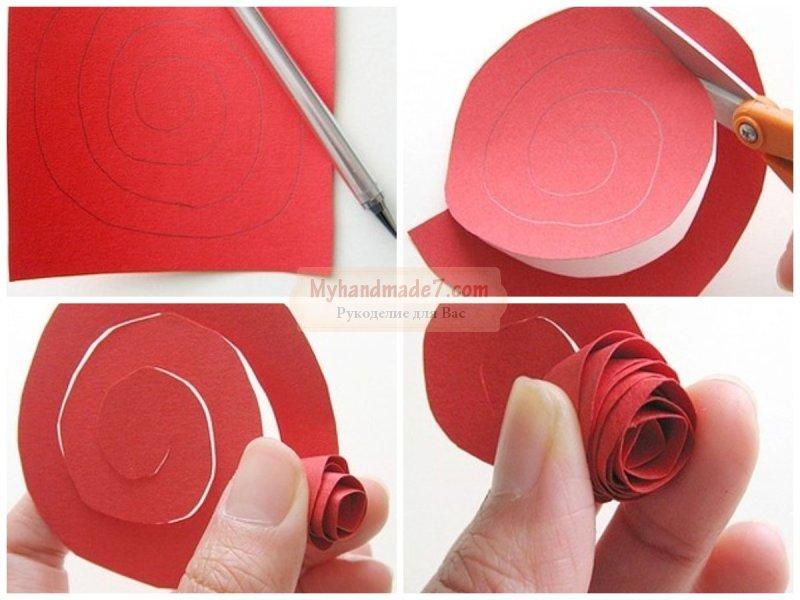 Розы спираль из бумаги пошагово фото
