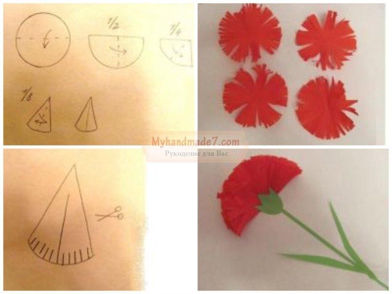 Объемные цветы из бумаги для открытки на 9 мая