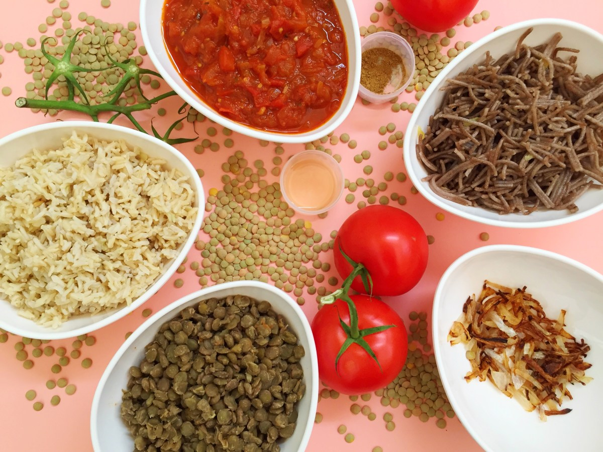 Ingredients, Koshari, Lentils, Tomato Sauce, Rice