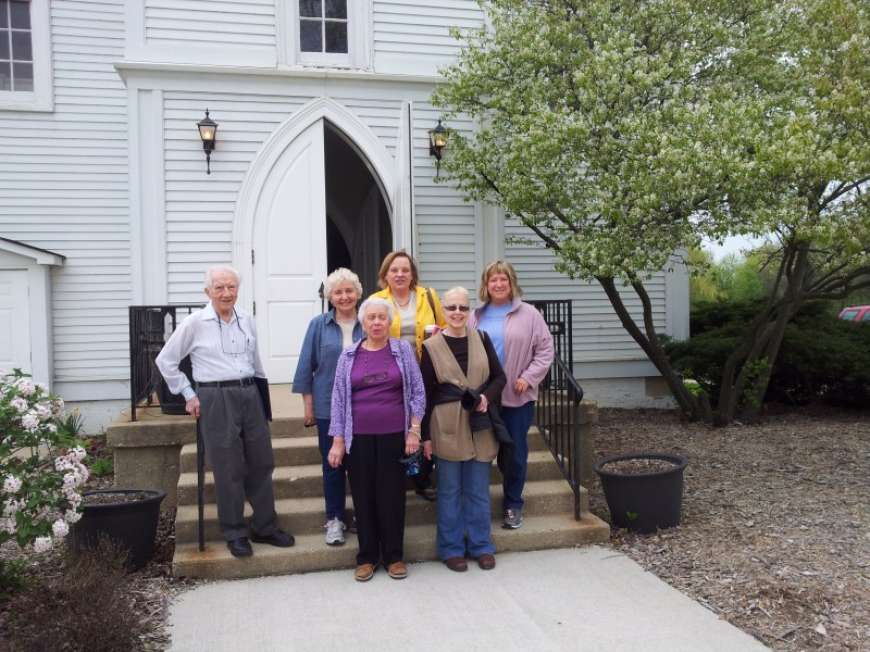 May 2013 Tour of St. John's Church in Palatine, IL with Harry Kotecki (tour guide), Audrey I, Pat W, Diane K, Betty H, Jeanne P.