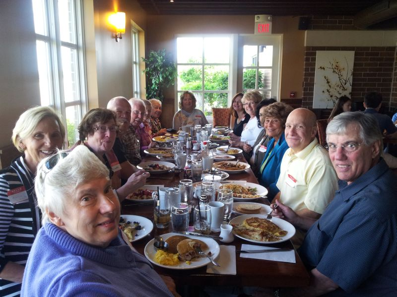 June 2013 Breakfast at Wildberry in Schaumburg with Sharon M, Marcia L, Mercedes M, Bill S, George E, Joann P, Diane K, Jeanne P, Alice R, Jackie C, Eloyse A, Bonnie H, Bruce B, Dom M.