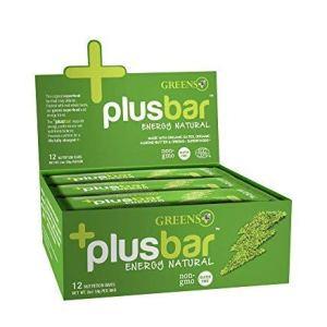 Greens+ Plusbar Energy Natural | Gluten Free Energy Bar | Organic Greens | Non GMO | Vegan | 12 Bars
