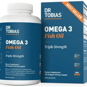 Dr. Tobias Omega 3 Fish Oil Triple Strength Supplement, 2000 mg, 180 Softgels
