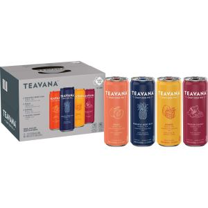 Teavana Craft Variety Pack Iced Natural Tea with Pineapple Berry Blue, Peach Green, Mango Black, Passion Tango Flavors 12 Fl. Oz. Cans (Pack of 12)
