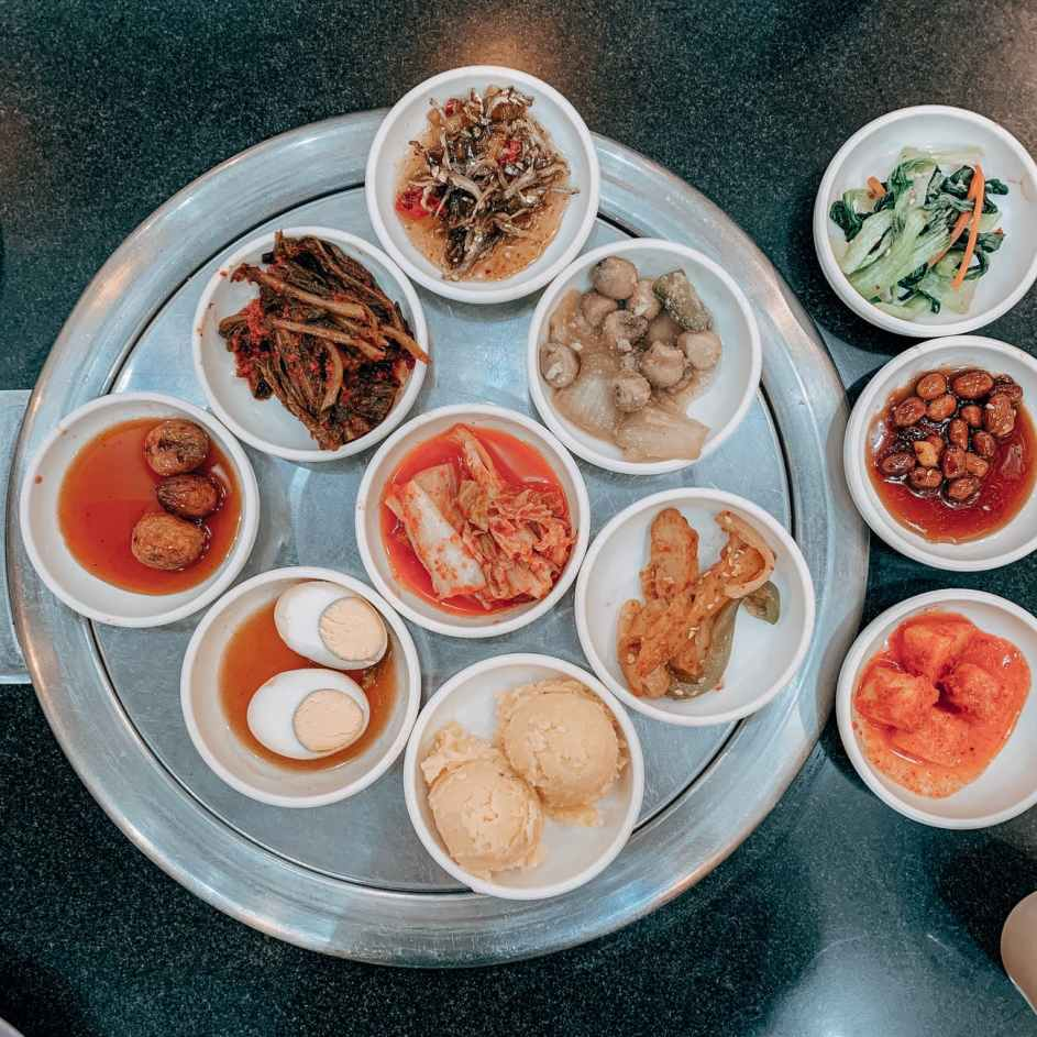 bowl of food on gray tray