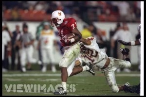 Damon Benning Breaks tackle durin a run in his 1996 MVP  winning Orange Bowl Performance against Virginia Tech