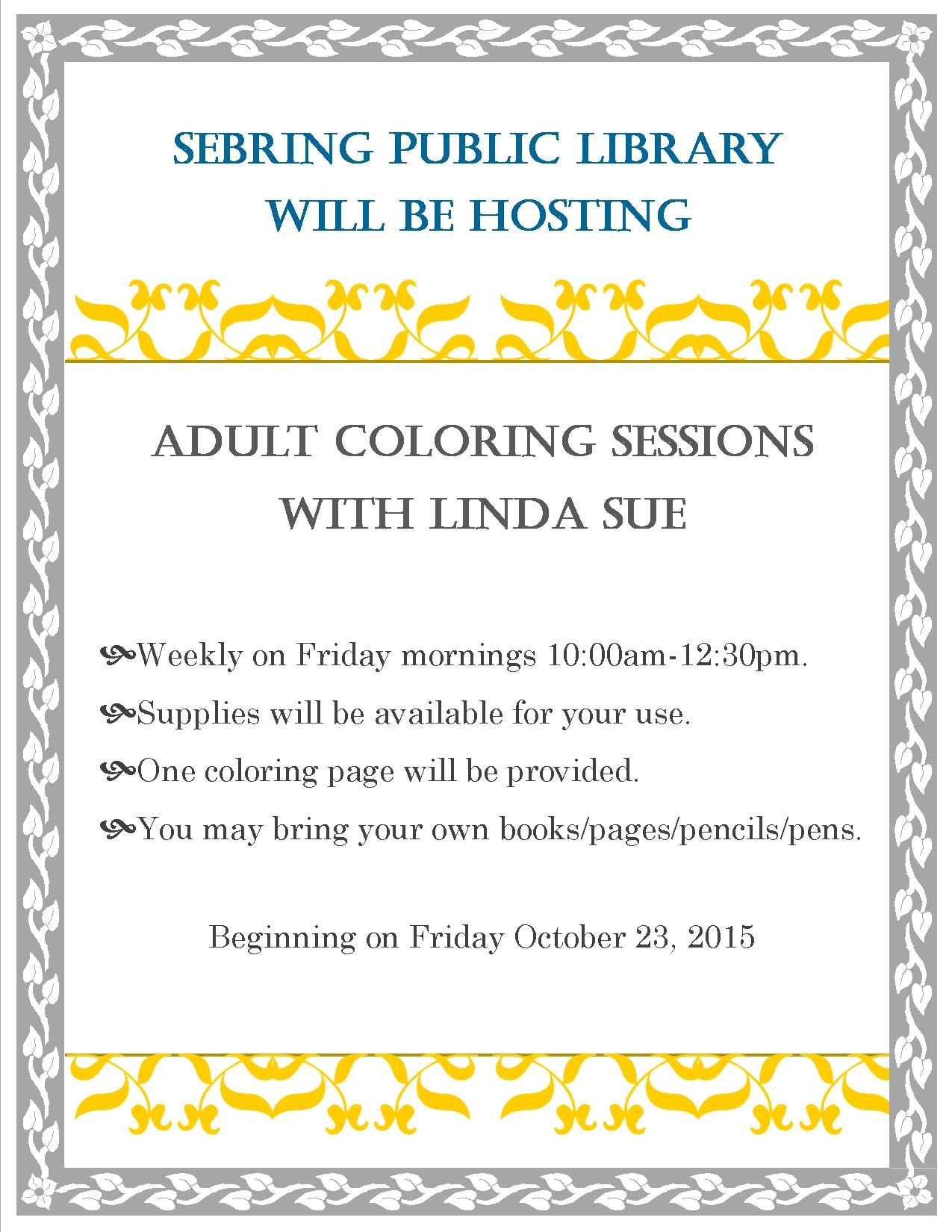 Adult Coloring at the library Heartland Library Cooperative