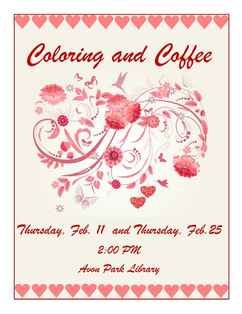 Coloring in February at the Avon Park Library