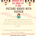 Read to Pepper, trained therapy dog in our Picture Books with Pepper on March 10 & 24 at 11:00 AM at the Avon Park Public Library!