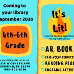 It's time to get excited about reading! Beginning in September, Highlands County libraries will feature an AR-testable book each month for upper elementary grades. A list of complementary activities students can complete at home will be available for each title. There are limited print copies available but no-cost electronic copies of each title will be available for students who have smart devices.