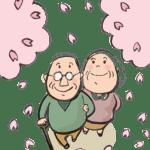 桜を愛でる老夫婦