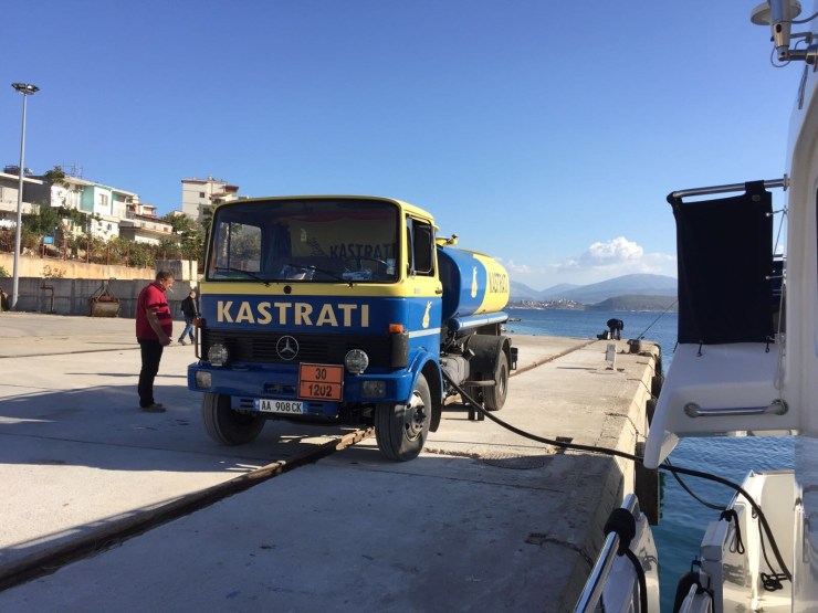 Refuelling in Saranda (driver smoking)