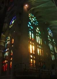 Sun rising through the windows of the Sagrada Familia