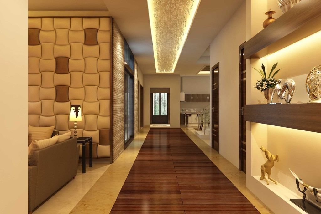 Interior design with brown colors