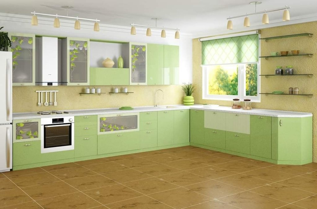 Lime green kitchen interior decor idea