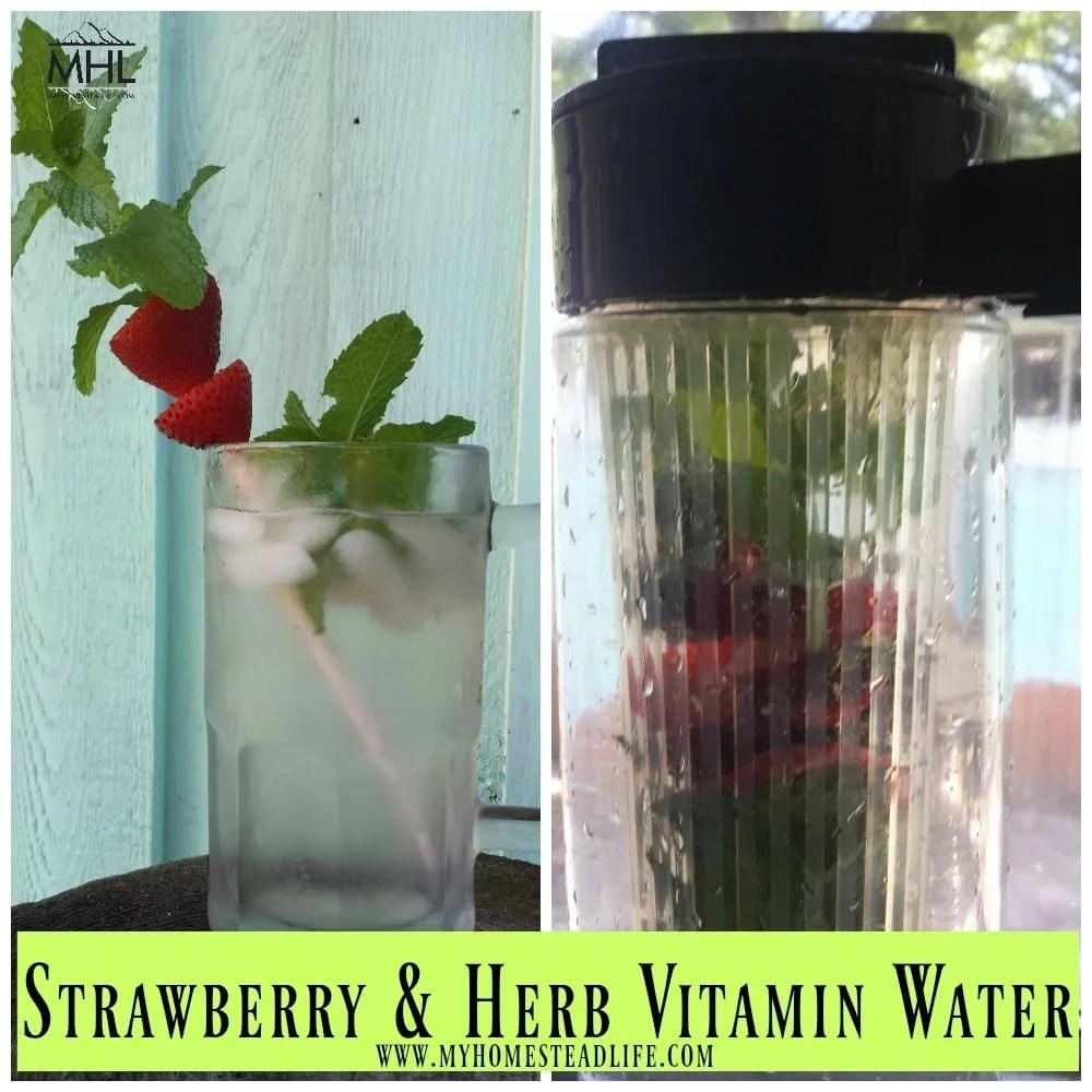 vitamin-water-strawberry-tops- strawberries-herbs