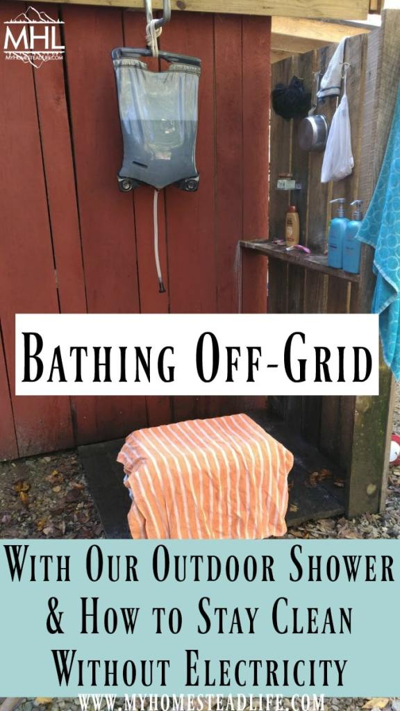 outdoor shower-bathing off grid- bathing without electricity