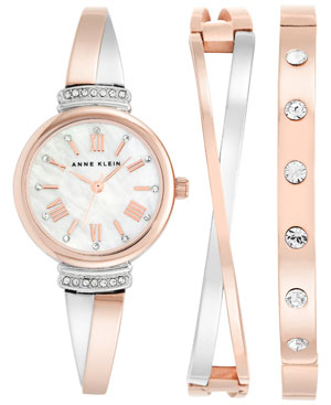 Anne Klein Women's Swarovski Crystal Accented Rose Gold-Tone and Silver-Tone Bangle Watch and Bracelet Set