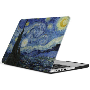 iCasso New Art Fashion Image Series Ultra Slim Light Weight Rubberized Hard Case Glossy Clear Crystal Snap-On Hard Cover Case for MacBook Pro 13 inch Retina (Model: A1425/A1502) - Starry Night