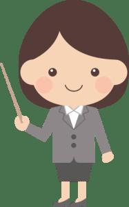 指さし棒を使う女の人のイラスト