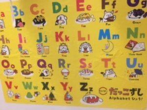 スシローのお風呂でアルファベットポスター