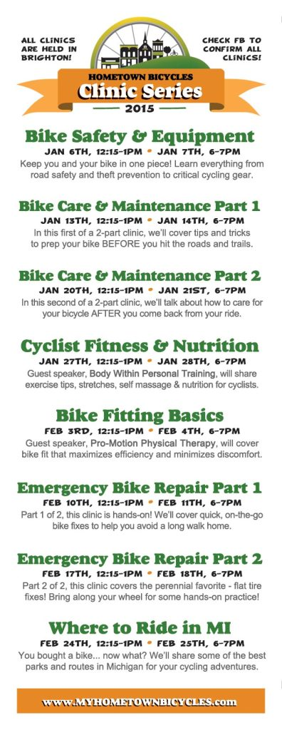 Hometown Bicycles 2015 Bike Clinic Schedule
