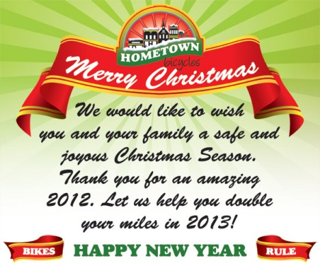 Merry Christmas and Happy New Year from Hometown Bicycles