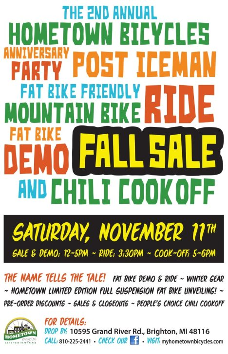 Hometown Bicycles Novemberfest flier