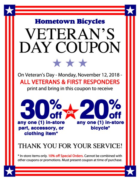 Hometown Bicycles Veteran's Day Coupon for Veterans and First Responders