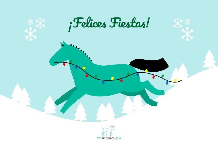 felicitacion de las fiestas con una ilustración de un caballo con luces de navidad