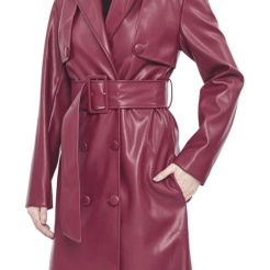 Hilary MacMillan Faux Leather Maroon Trench