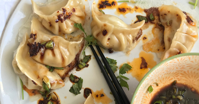 Spicy Peanut Chicken Potsticker Dumplings & Ugly Delicious