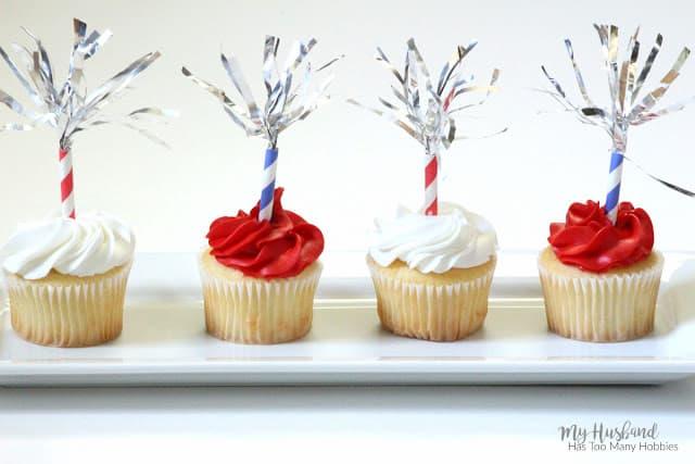 DIY firecracker cupcake topper.