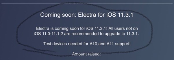 Electra jailbreak for iOS 11.3.1 coming soon