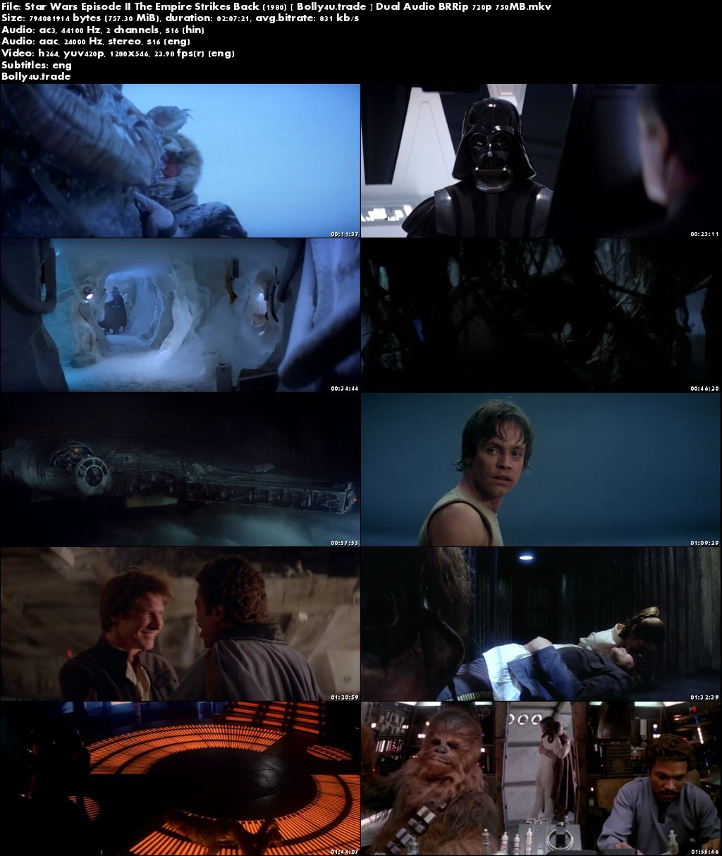 Star Wars Episode II The Empire Strikes Back 1980 BRRip 750MB Hindi Dual Audio 720p Download