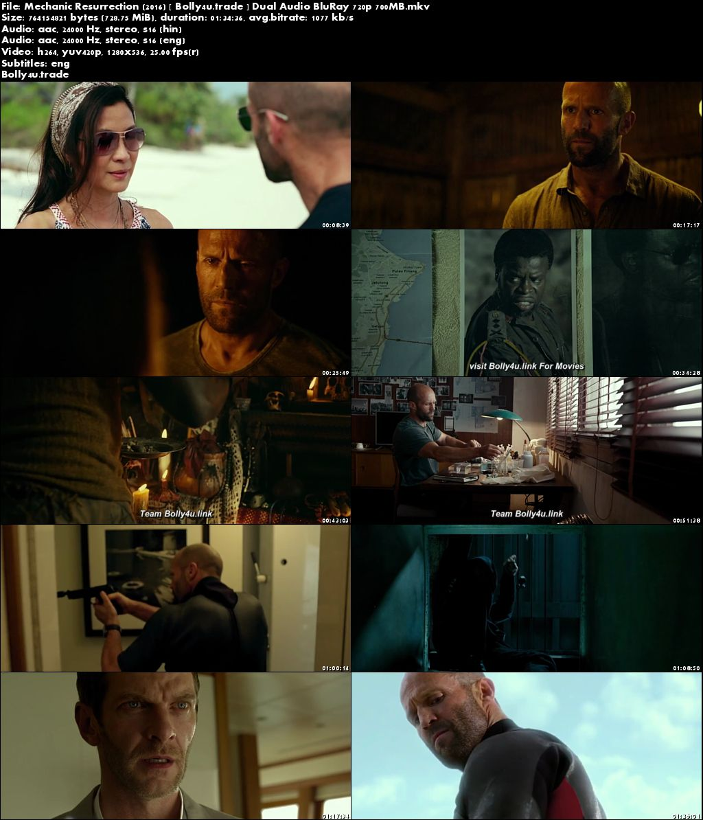 Mechanic Resurrection 2016 BluRay 700MB Hindi Dual Audio ORG 720p Download