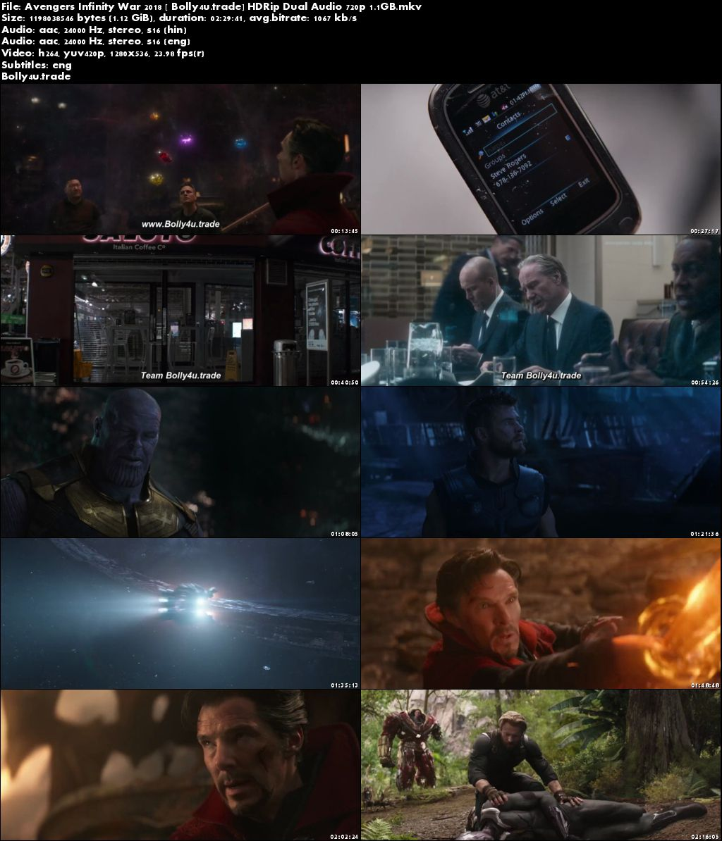 Avengers Infinity War 2018 HDRip 450MB Hind Dubbed Dual Audio 480p ESub Download