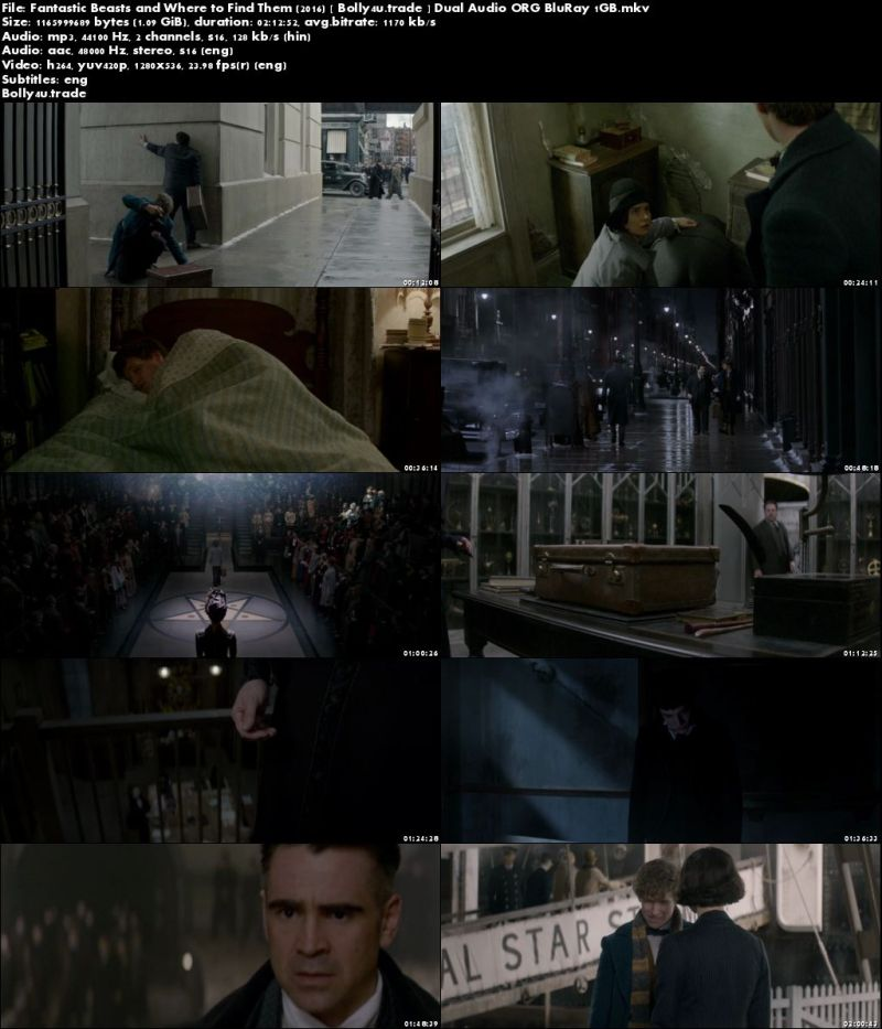 Fantastic Beasts and Where to Find Them 2016 BRRip 1GB Hindi Dual Audio ORG 720p Download