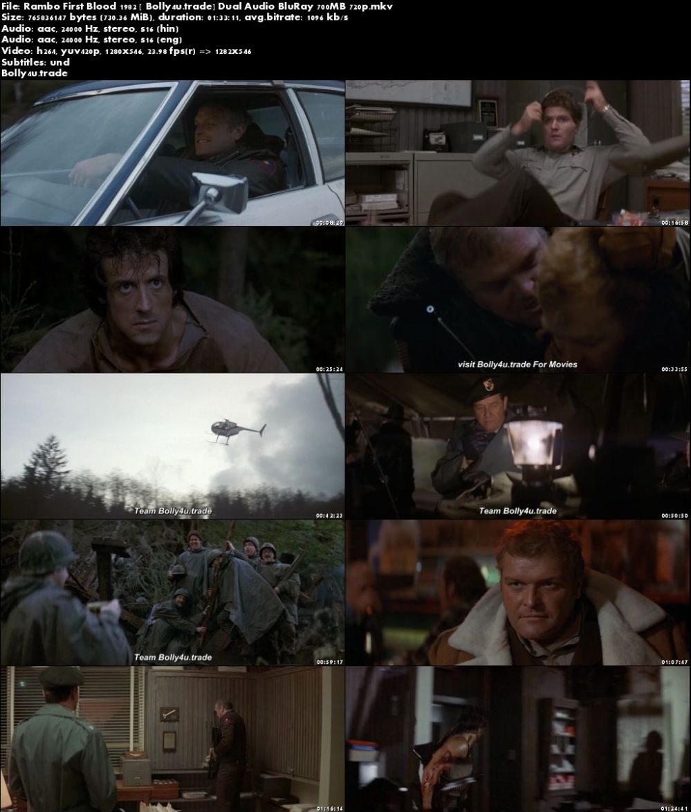 Rambo First Blood 1982 BluRay 300MB Hindi Dual Audio 480p