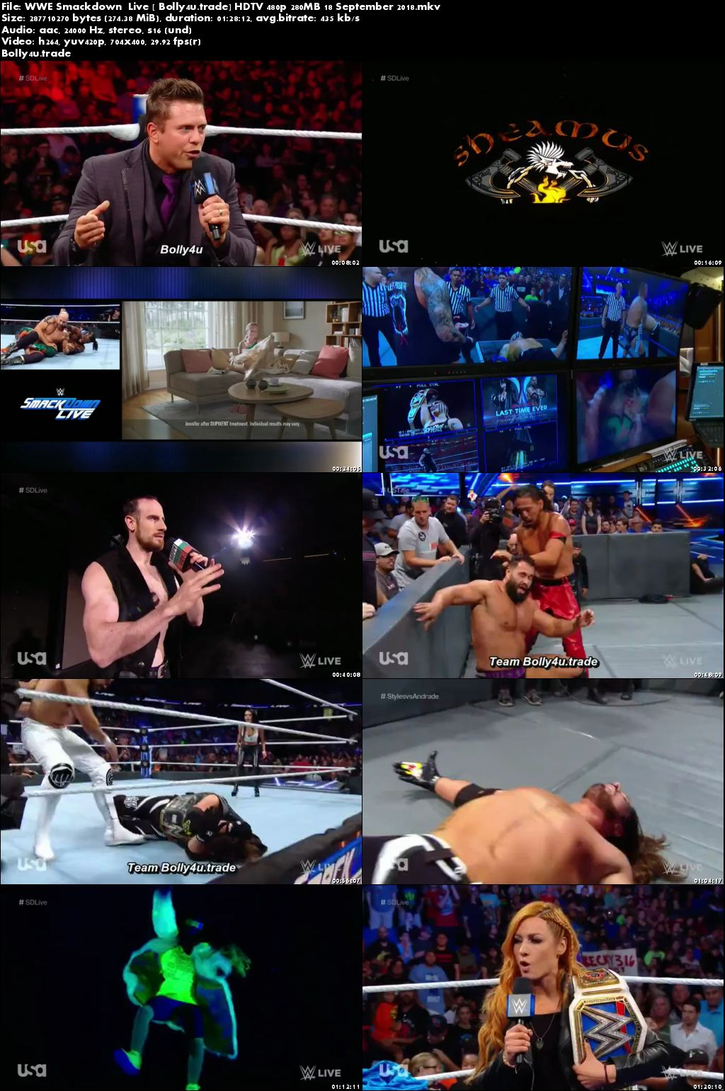 WWE Smackdown Live HDTV 480p 280MB 18 September 2018 Download