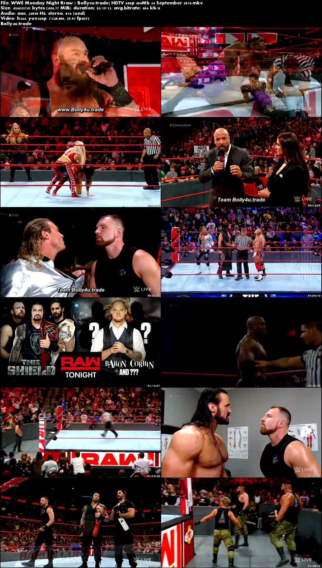 WWE Monday Night Raw HDTV 480p 400Mb 24 September 2018 Download